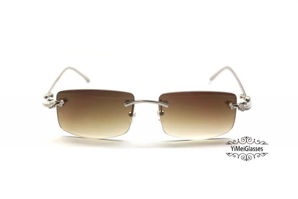 Cartier Crocodile Decor Diamond Rimless Sunglasses CT6438289插图(6)