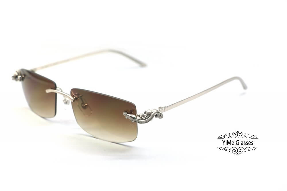 Cartier Crocodile Decor Diamond Rimless Sunglasses CT6438289插图(7)