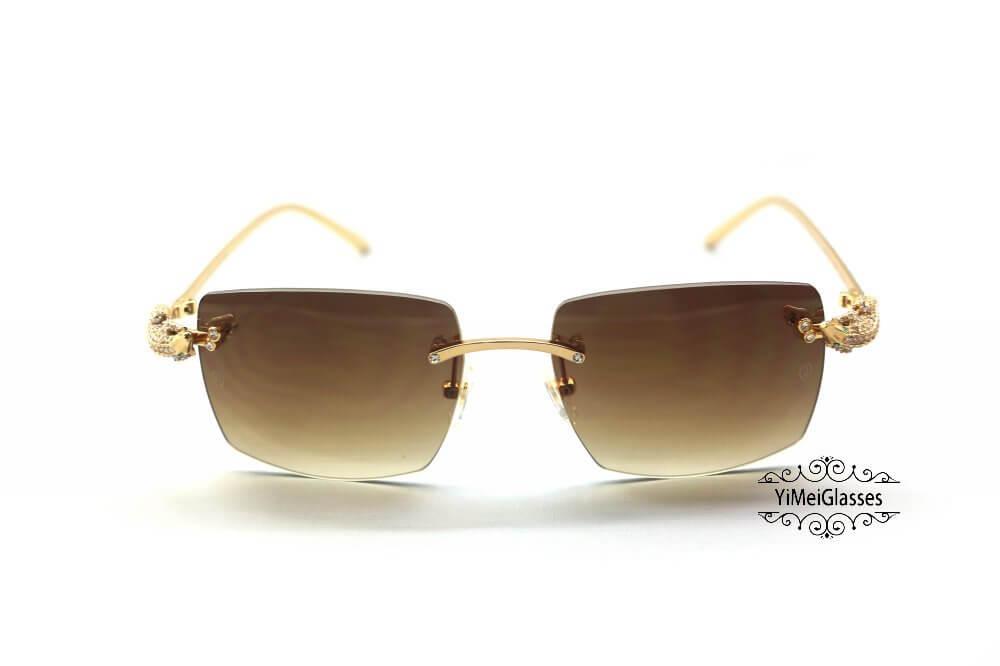 Cartier Crocodile Decor Diamond&Gem Big Lens Rimless Sunglasses CT6438289插图