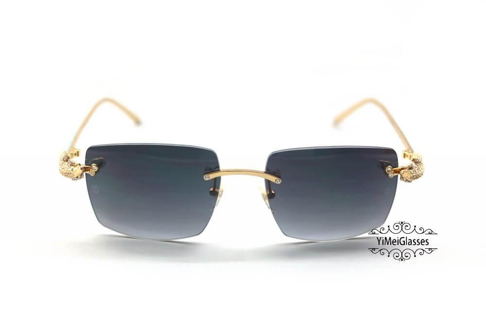 Cartier Crocodile Decor Diamond&Gem Big Lens Rimless Sunglasses CT6438289插图8