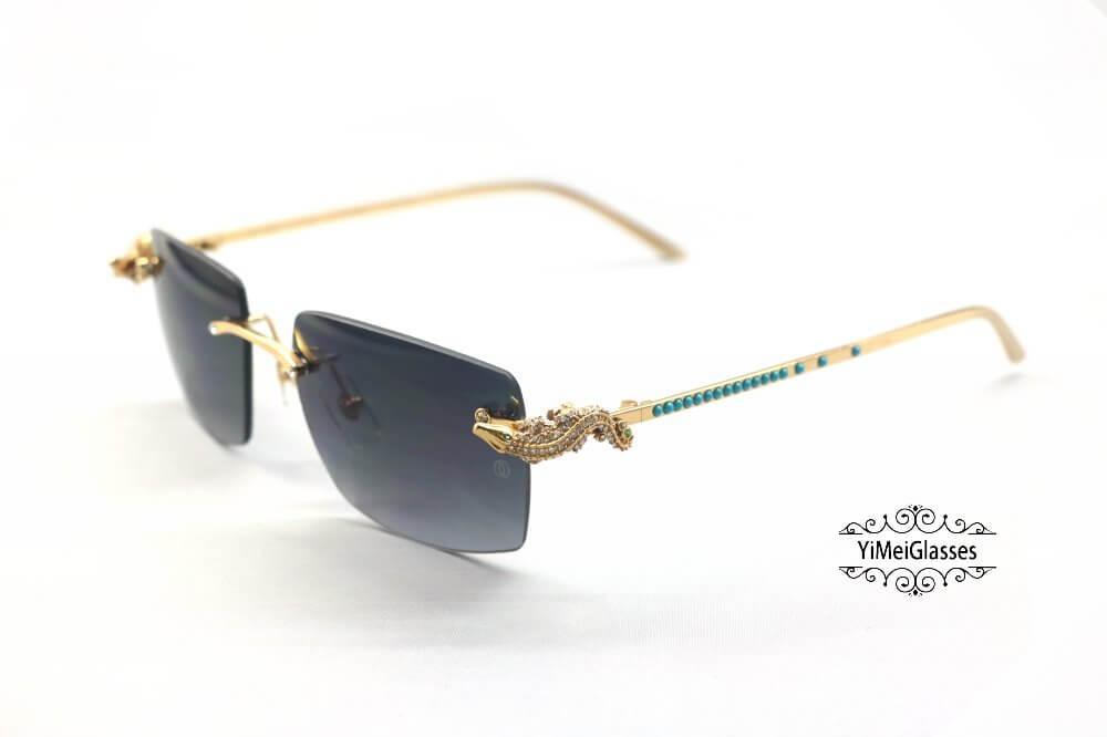 Cartier Crocodile Decor Diamond&Gem Big Lens Rimless Sunglasses CT6438289插图9