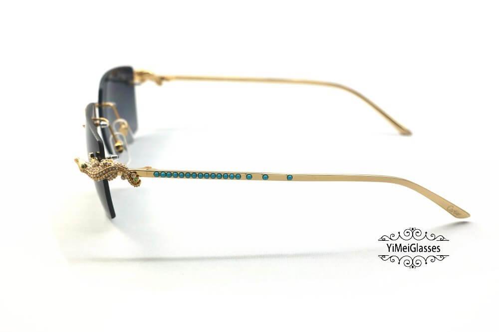 Cartier Crocodile Decor Diamond&Gem Big Lens Rimless Sunglasses CT6438289插图10