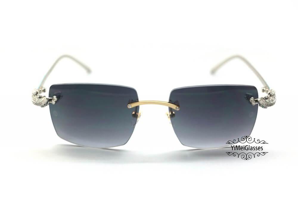 Cartier Crocodile Decor Diamond&Gem Big Lens Rimless Sunglasses CT6438289插图11