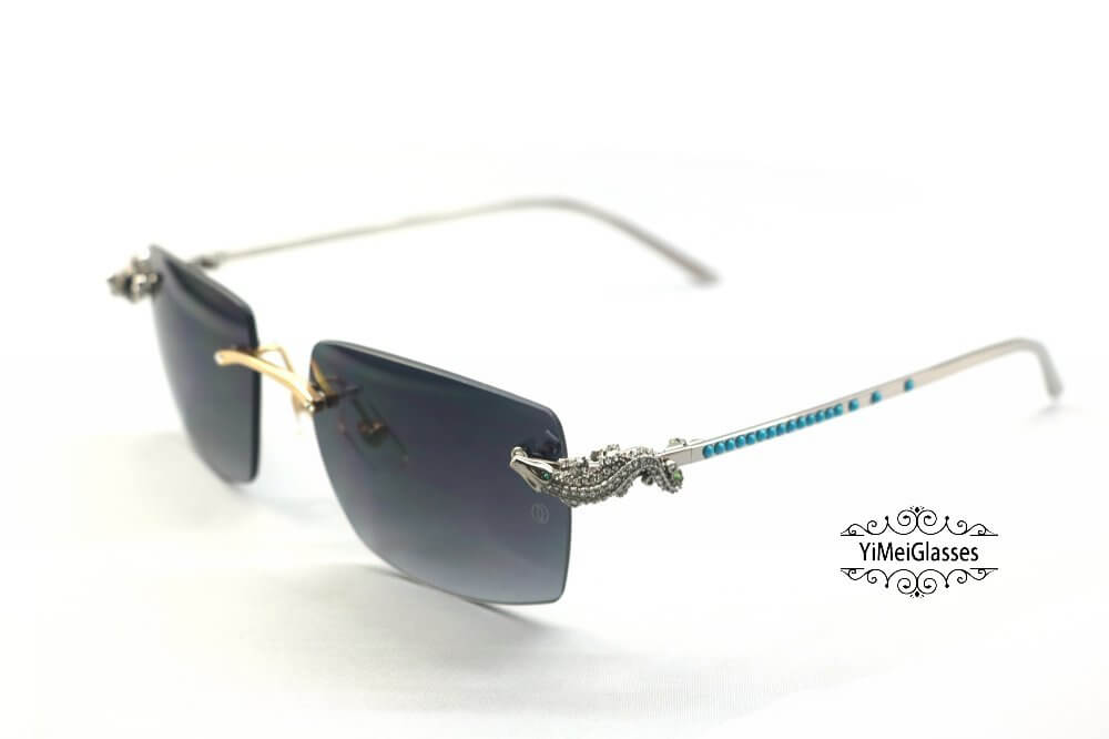 Cartier Crocodile Decor Diamond&Gem Big Lens Rimless Sunglasses CT6438289插图12