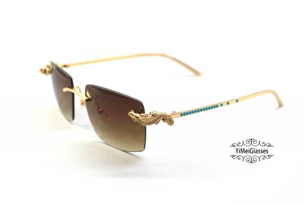 Cartier Crocodile Decor Diamond&Gem Big Lens Rimless Sunglasses CT6438289插图1
