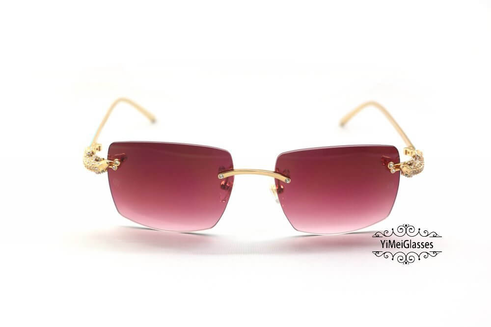 Cartier Crocodile Decor Diamond&Gem Big Lens Rimless Sunglasses CT6438289插图14