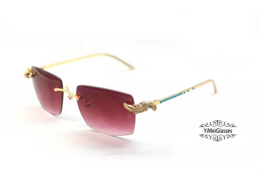 Cartier Crocodile Decor Diamond&Gem Big Lens Rimless Sunglasses CT6438289插图15