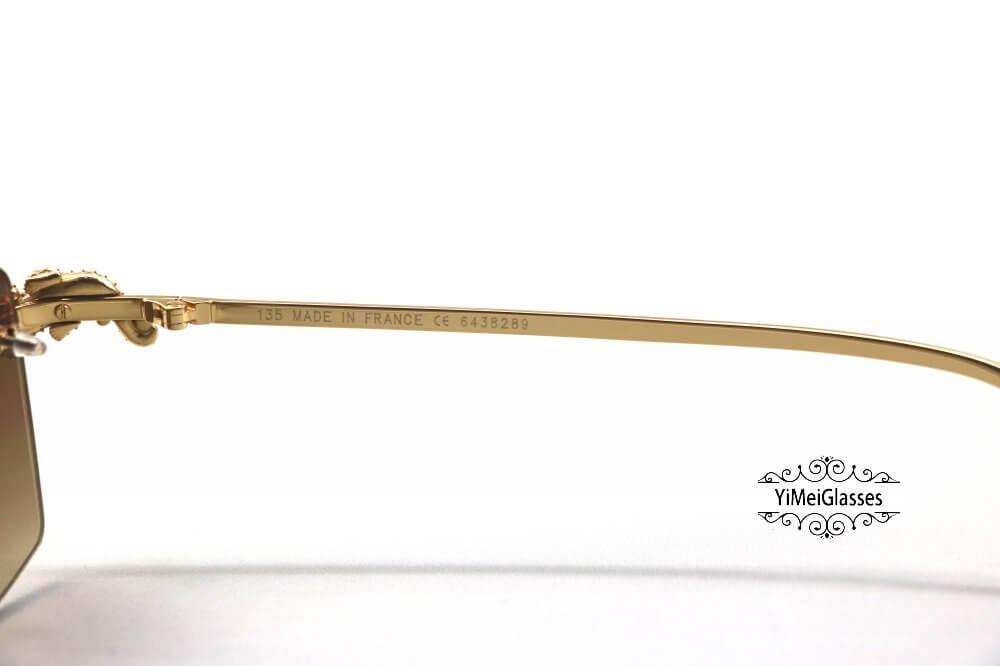 Cartier Crocodile Decor Diamond&Gem Big Lens Rimless Sunglasses CT6438289插图2