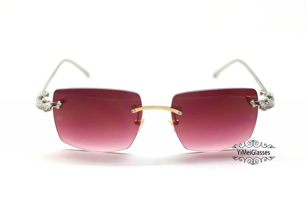 Cartier Crocodile Decor Diamond&Gem Big Lens Rimless Sunglasses CT6438289插图17