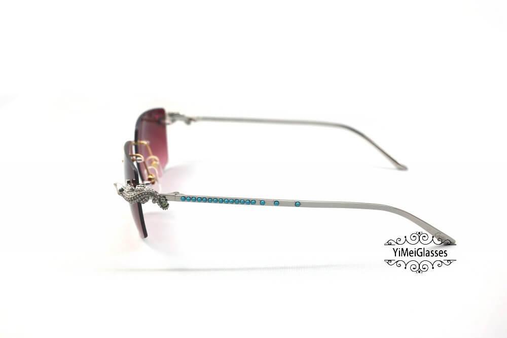 Cartier Crocodile Decor Diamond&Gem Big Lens Rimless Sunglasses CT6438289插图19