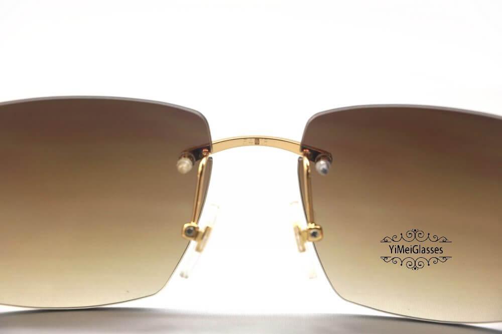 Cartier Crocodile Decor Diamond&Gem Big Lens Rimless Sunglasses CT6438289插图3