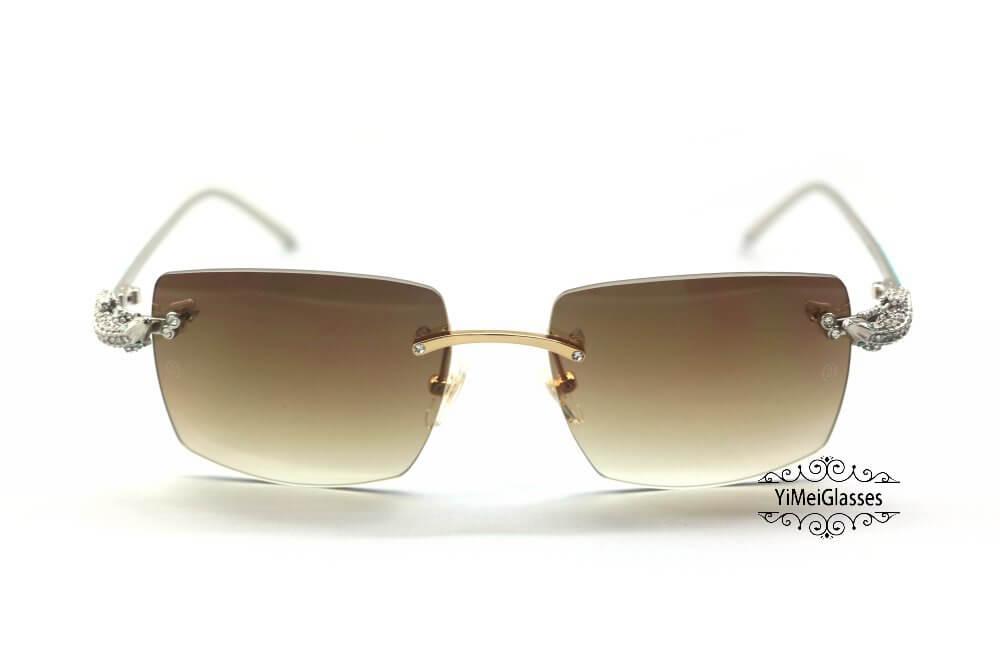 Cartier Crocodile Decor Diamond&Gem Big Lens Rimless Sunglasses CT6438289插图5