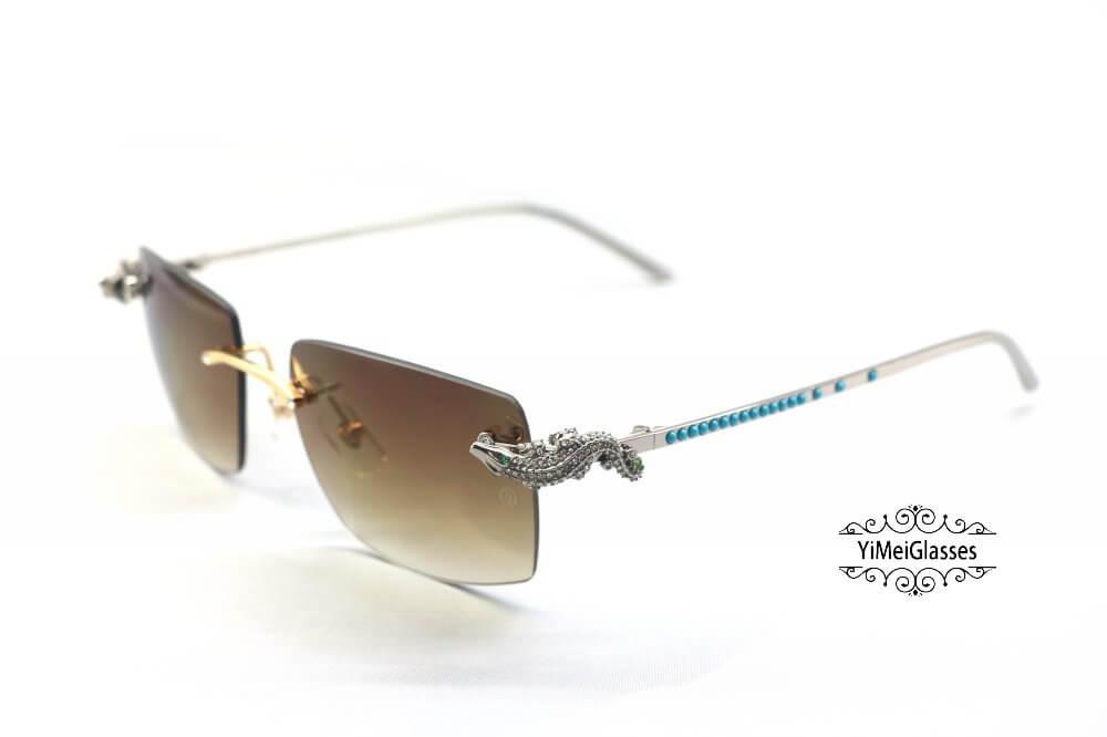 Cartier Crocodile Decor Diamond&Gem Big Lens Rimless Sunglasses CT6438289插图6