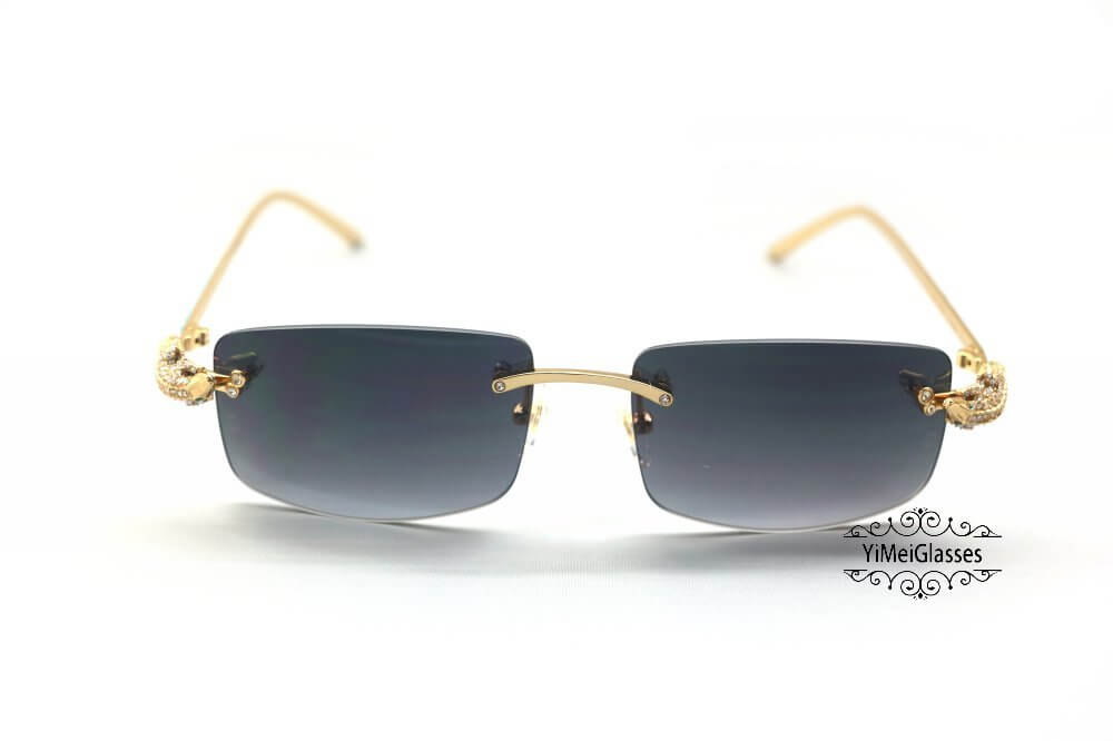 Cartier Crocodile Decor Diamond&Gem Rimless Sunglasses CT6438289插图8