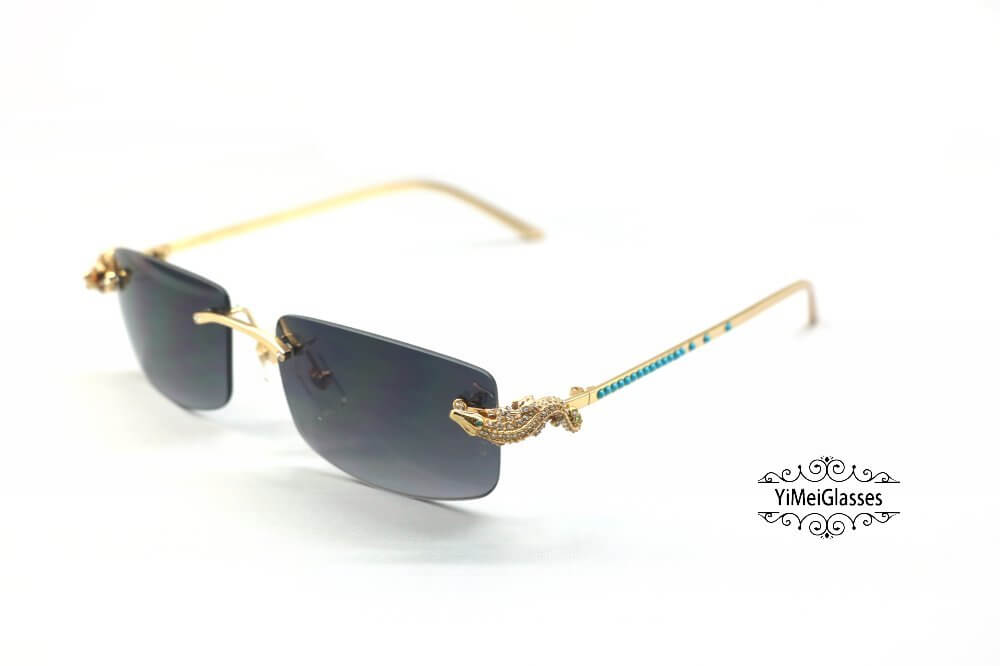 Cartier Crocodile Decor Diamond&Gem Rimless Sunglasses CT6438289插图9