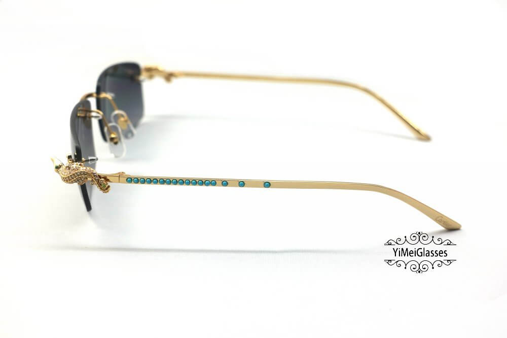 Cartier Crocodile Decor Diamond&Gem Rimless Sunglasses CT6438289插图(10)
