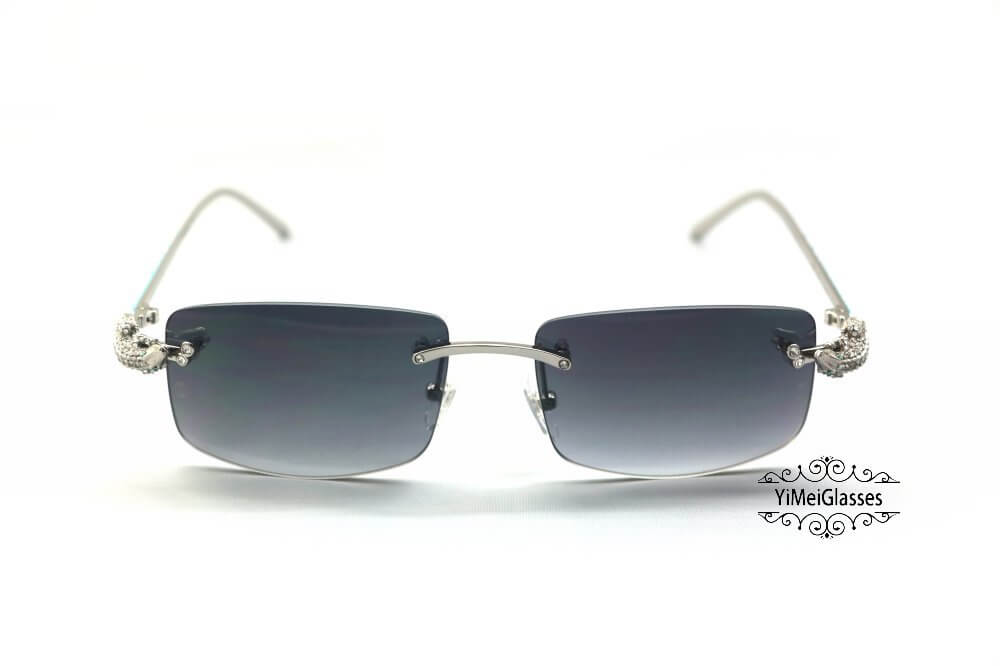 Cartier Crocodile Decor Diamond&Gem Rimless Sunglasses CT6438289插图11