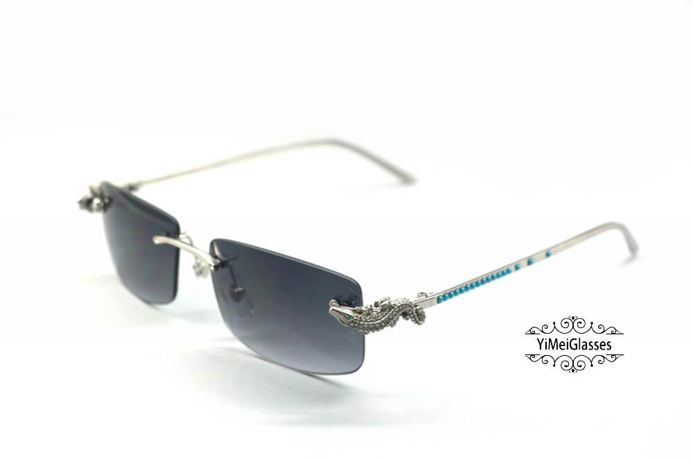 Cartier Crocodile Decor Diamond&Gem Rimless Sunglasses CT6438289插图(12)