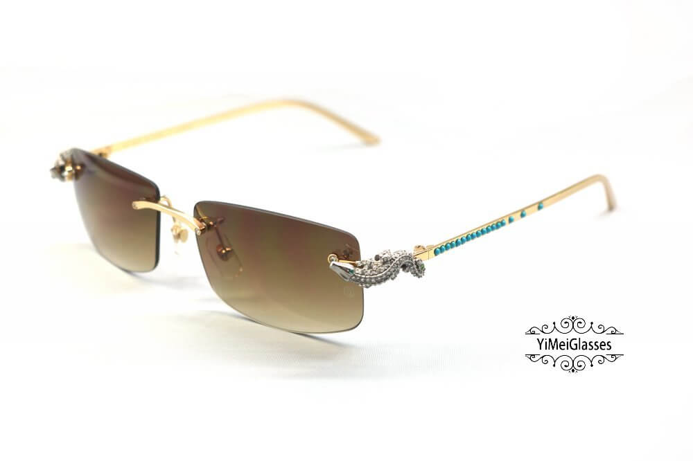 Cartier Crocodile Decor Diamond&Gem Rimless Sunglasses CT6438289插图
