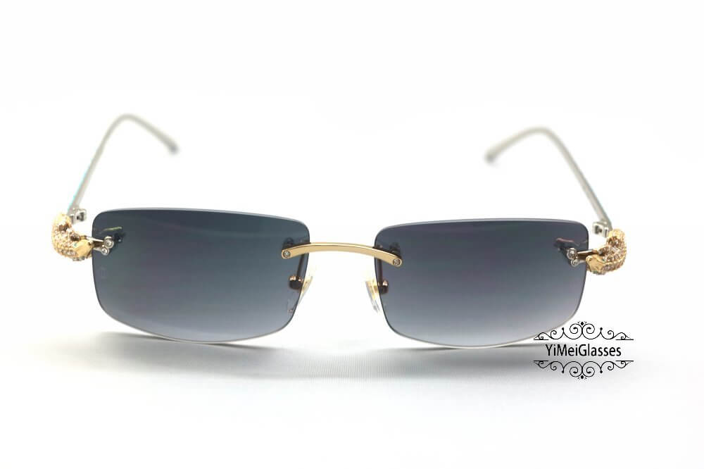 Cartier Crocodile Decor Diamond&Gem Rimless Sunglasses CT6438289插图14