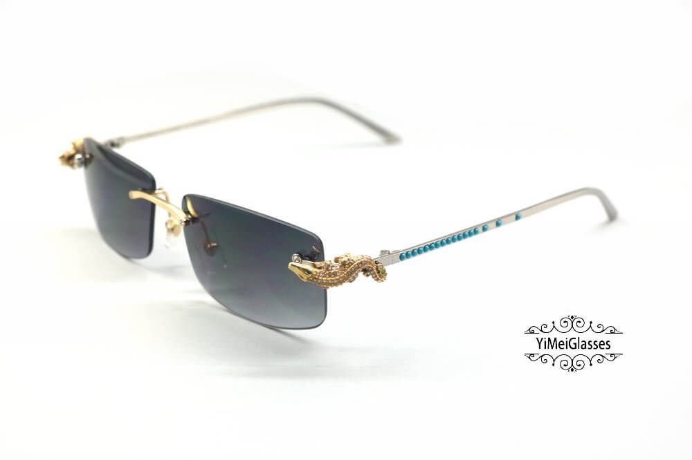 Cartier Crocodile Decor Diamond&Gem Rimless Sunglasses CT6438289插图(15)