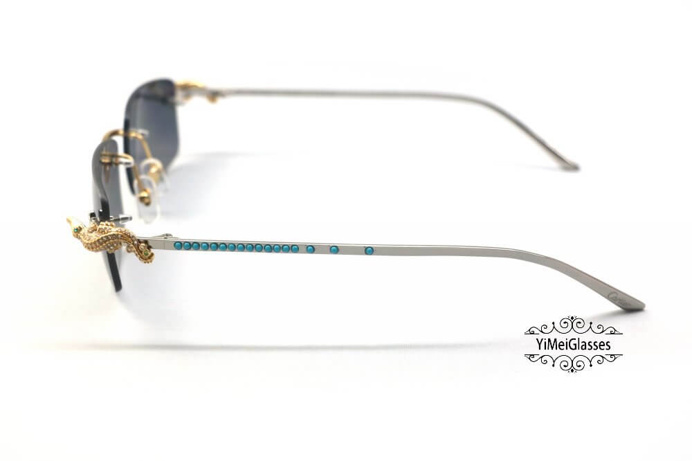 Cartier Crocodile Decor Diamond&Gem Rimless Sunglasses CT6438289插图(16)