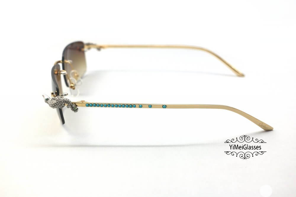 Cartier Crocodile Decor Diamond&Gem Rimless Sunglasses CT6438289插图(1)