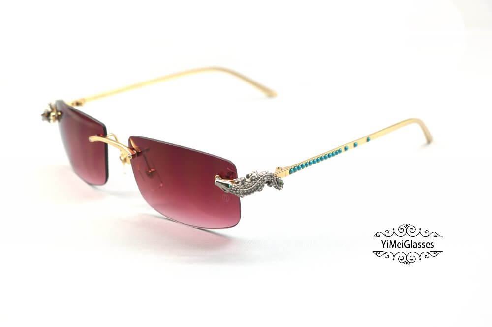 Cartier Crocodile Decor Diamond&Gem Rimless Sunglasses CT6438289插图(18)