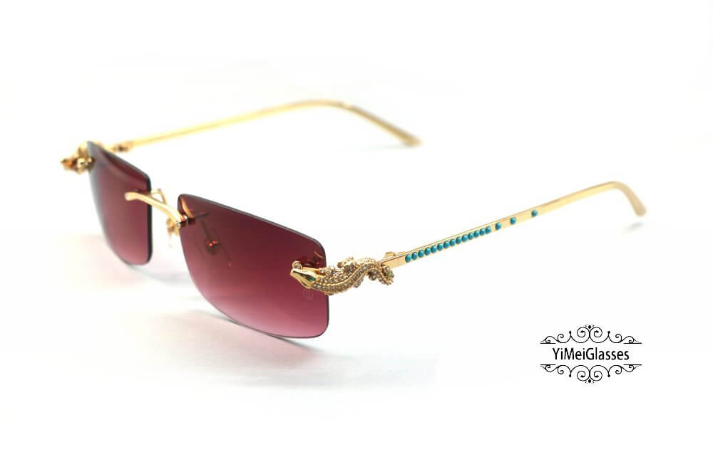 Cartier Crocodile Decor Diamond&Gem Rimless Sunglasses CT6438289插图20