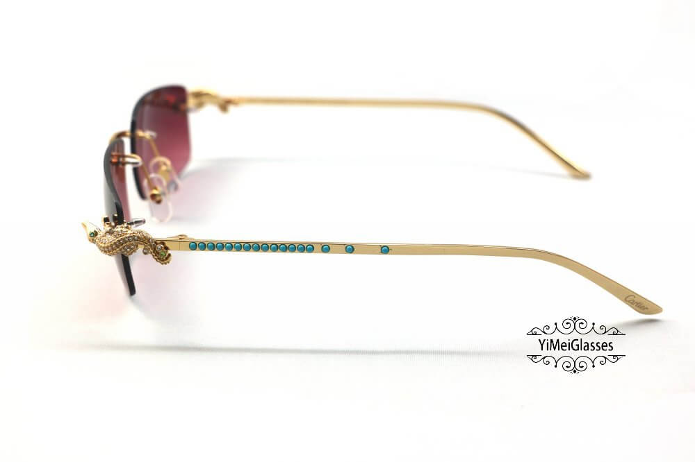 Cartier Crocodile Decor Diamond&Gem Rimless Sunglasses CT6438289插图21