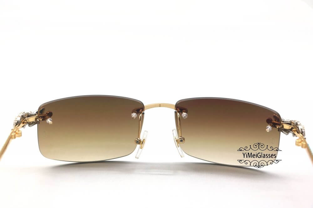 Cartier Crocodile Decor Diamond&Gem Rimless Sunglasses CT6438289插图3