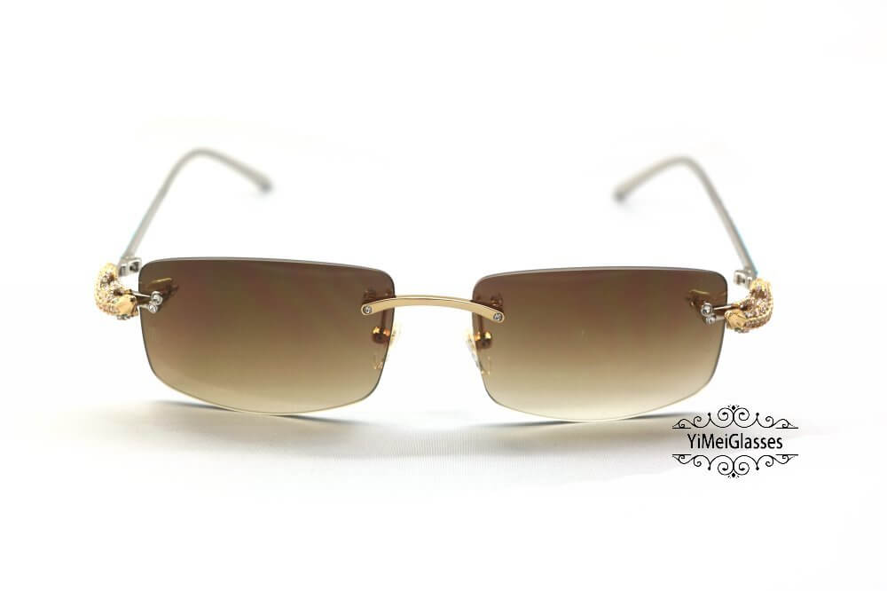Cartier Crocodile Decor Diamond&Gem Rimless Sunglasses CT6438289插图(5)