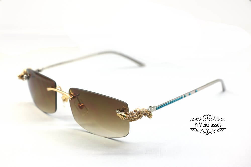 Cartier Crocodile Decor Diamond&Gem Rimless Sunglasses CT6438289插图6