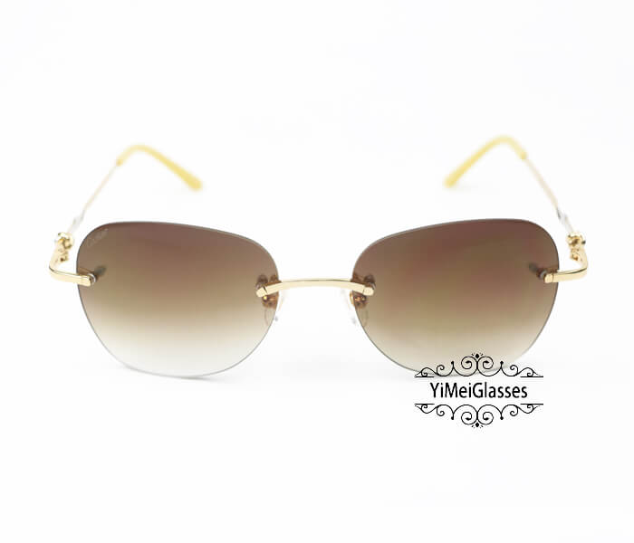 Cartier Two-color plating Metal Rimless Sunglasses CT6725338插图