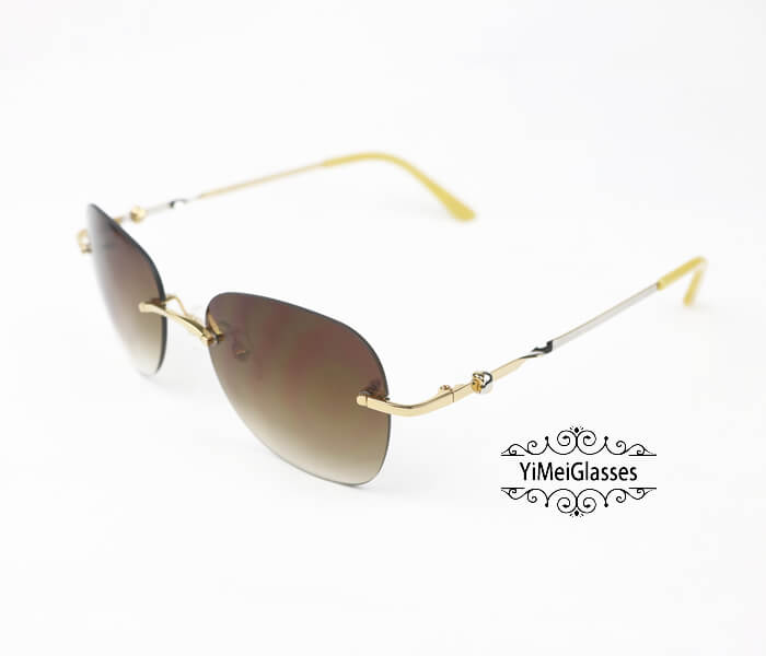 Cartier Two-color plating Metal Rimless Sunglasses CT6725338插图1