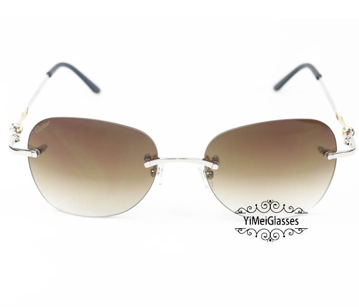 Cartier Two-color plating Metal Rimless Sunglasses CT6725338插图2