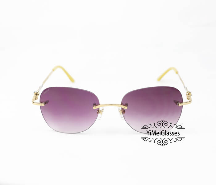 Cartier Two-color plating Metal Rimless Sunglasses CT6725338插图8